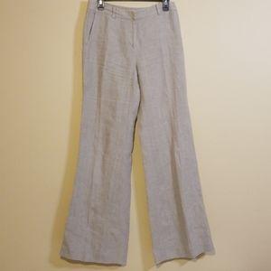 Michael Kors Tan Linen Wide Leg Pants